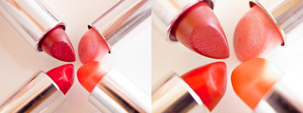 Beautiful lipsticks - set of make-up shots. A still-life of some colorful lipstick royalty free stock image