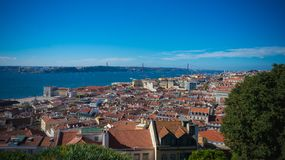 Landscape of Lisbon Portugal in the world royalty free stock photography
