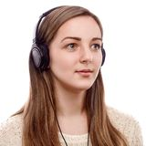 Beautiful listener Stock Photo