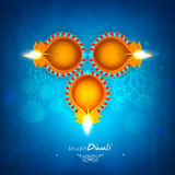 Beautiful lit lamps for Happy Diwali celebration. Royalty Free Stock Photography