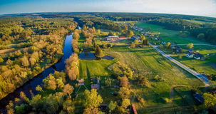 Beautiful Lithuania. Aerial panorama countryside: river Sventoji in Andrioniskis near Anyksciai, Lithuania Royalty Free Stock Images