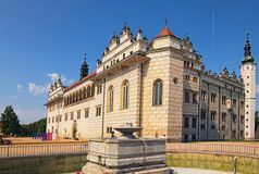 Beautiful Litomysl Castle by sunny day. One of the largest Renaissance castles in the Czech Republic. A UNESCO World Heritage Site. Sgraffito painting in the royalty free stock photos