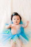 Cute Asian Baby Girl wearing a blue Tutu Royalty Free Stock Photography