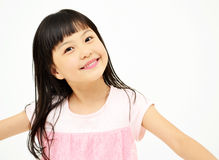 Happy little girl on white background Royalty Free Stock Photos