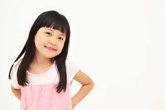 Happy little girl on white background Stock Photos
