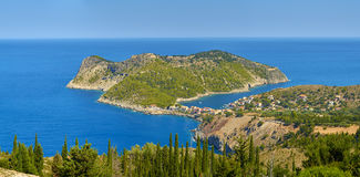 Beautiful little Assos village in Kefalonia. Beautiful little Assos village and its bay. Kefalonia island, Greece Royalty Free Stock Photo