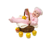 Beautiful little baby girl in the basket Royalty Free Stock Photos