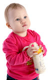 Beautiful little baby girl with bottle Stock Photos