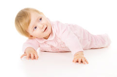 Beautiful little baby learns to crawl Stock Photography