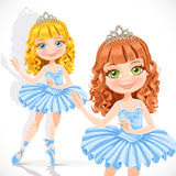 Beautiful little ballerina girl in tiara and blue dress Royalty Free Stock Photo