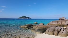 Beautiful Little Beach at Similan Islands. Tropical Aerial HD slowmotion. Phang Nga Province, Thailand. stock footage