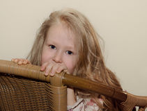 Beautiful little blond girl with long hair Royalty Free Stock Images