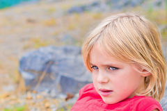 Beautiful Little Blond Girl Relaxing Royalty Free Stock Image
