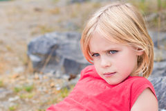 Beautiful Little Blond Girl Relaxing Royalty Free Stock Photos