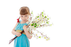 Beautiful little blonde girl with short bangs Royalty Free Stock Photography