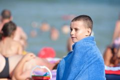 Beautiful little boy on the beach Royalty Free Stock Image