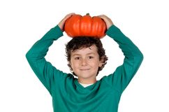 Beautiful little boy with a big pumpkin Stock Photo