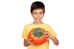 Beautiful little boy with a big pumpkin Royalty Free Stock Images