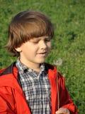 Beautiful little boy blowing dandelion. Royalty Free Stock Image