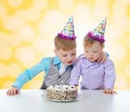 Beautiful little boy celebrates birthday Stock Image