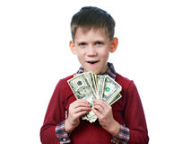 Beautiful little boy with dollar bills in hands isolated Stock Photo