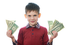 Beautiful little boy with dollar bills isolated Stock Photos