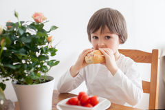 Free Beautiful Little Boy, Eating Sandwich At Home, Vegetables On The Stock Photos - 54157233