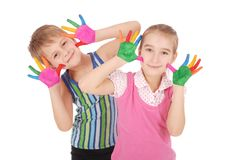Beautiful little boy and girl with hands in the paint Royalty Free Stock Photo