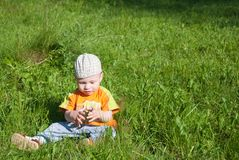 Beautiful little boy looks in green  meadow Stock Photo