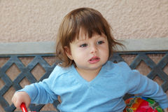 The beautiful little boy with a red ball Stock Photo