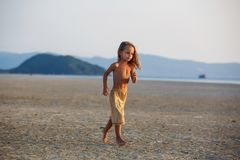 Little boy on the beach Royalty Free Stock Photos