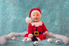 Beautiful little boy in santa costume Royalty Free Stock Photo