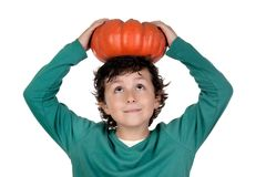 Beautiful Little Boy With A Big Pumpkin Royalty Free Stock Image