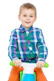 Beautiful little Caucasian boy riding a Bicycle Royalty Free Stock Photo