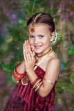 Beautiful little caucasian girl in oriental clothing Royalty Free Stock Photography