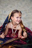 Beautiful little caucasian girl in traditional indian sari Stock Image