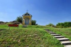 Beautiful little chapel. Europe - Czech Republic. South-Moravian region. Beautiful landscape with sunset - wine region. Beautiful little chapel. Europe - Czech stock photography