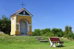Beautiful little chapel. Europe - Czech Republic. South-Moravian region. Beautiful landscape with sunset - wine region. Beautiful little chapel. Europe - Czech royalty free stock photography