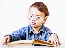 Beautiful little child girl learns to read success, education,. Childhood, development Stock Photography