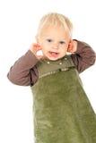 Beautiful little child looks stock photo