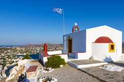 Beautiful little church on a hill in Leros island, Greece Stock Photo