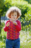 Beautiful little curly girl blowing dandelion, vertical shot Royalty Free Stock Photos