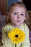 Beautiful little cute girl in a yellow robe sending a kiss to the camera with a yellow daisy flower Royalty Free Stock Images
