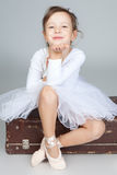 Beautiful little dancer, ballerina in white dress Stock Image