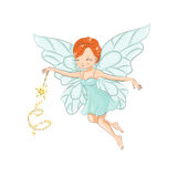 The beautiful little fairy. Cute little fairy flying. In her hand a magic wand that works wonders Royalty Free Stock Images