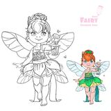 Beautiful little fairy with a flashlight color and outlined Royalty Free Stock Images