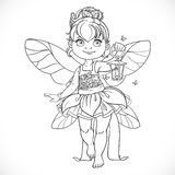 Beautiful little fairy with a flashlight outlined Stock Photos