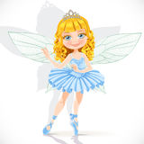 Beautiful little fairy girl in tiara and blue dress Stock Photo