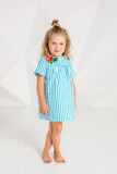 Beautiful little fashion model on white studio background. Portrait of cute girl posing in studio Stock Image