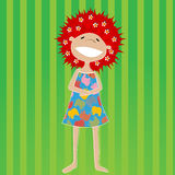 Beautiful little girl. With red hair and flowers Royalty Free Stock Photo